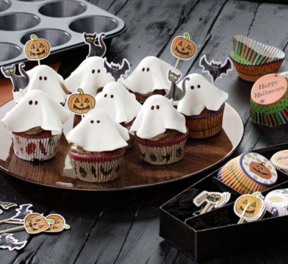 Cupcakes fantasmas-Halloween-Cookidoo