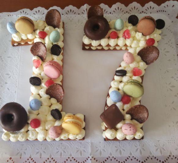 Tarta de números para cumpleaños