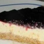 tarta de queso de burgos con mermelada de arandanos